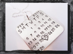 Calendar Necklace - Any Date - Any Year -