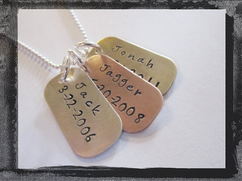 Mixed Metal Dog Tag Necklace - Silver Copper Brass