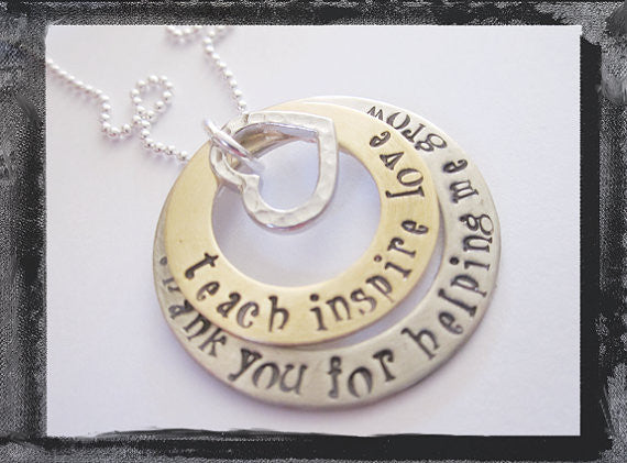 Stacked Teacher Appreciation Necklace - Teach Inspire Love - maddie font