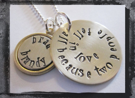 All Because Two People Fell In Love - Mixed Metal Wedding/Anniversary/Engagement Necklace