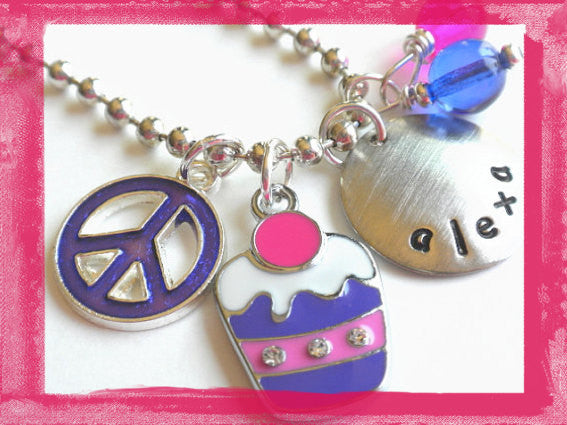 Purple Cupcake Charm Necklace for Girls #SW79