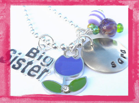 Little Sister - Big Sister - Purple Tulip Necklace for Girls