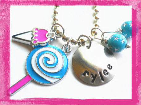 Ice Cream and Lollipop Charm Necklace for Girls