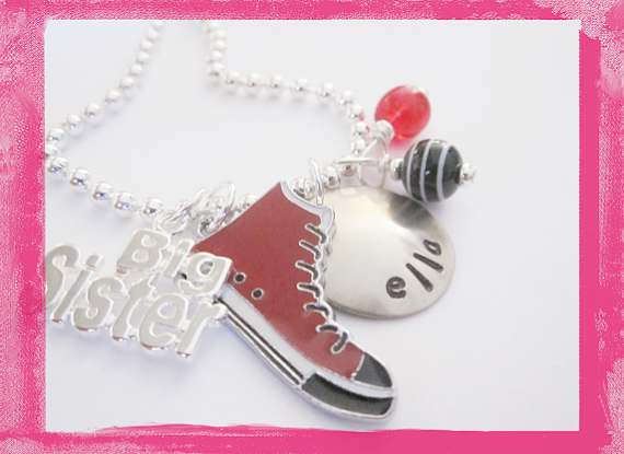 Little Sister - Big Sister - Red Shoe Necklace for Girls