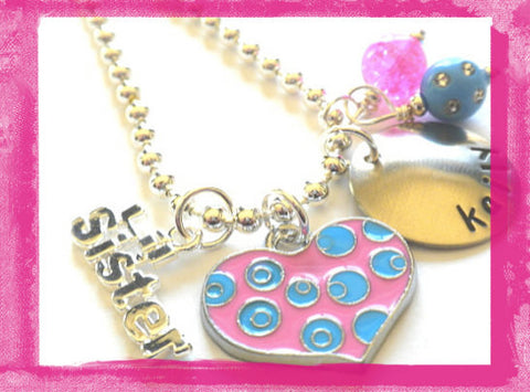 Sister Necklace Personalize Little Sister - Big Sister - Pink Heart Necklace for Girls #Sis 83