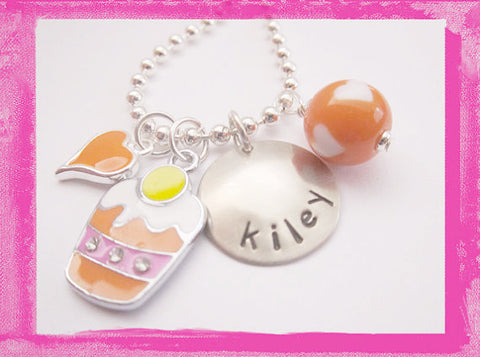Sherbet Cupcake Charm Necklace for Girls #SW86