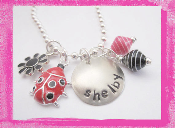 Lady Bug Charm Necklace for Girls