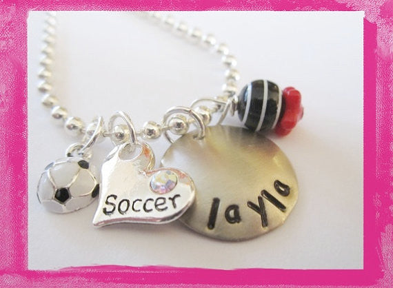 I Love Soccer - Necklace for Girls Personalized for Children #s59