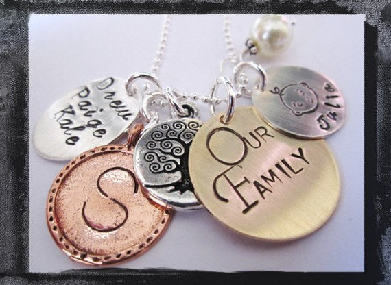Our Family Charm Necklace - Mixed Metal Charms for the Whole Family