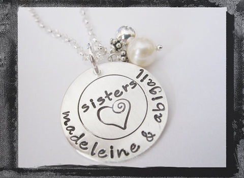 Family Circle Necklace in Sterling Silver - Sisters or BFF Necklace