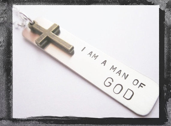 Christian Jewelry - I am a man of God - Dog Tag Necklace
