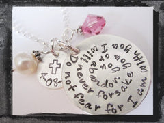 First Communion Necklace - Hand Stamped Jewelry - Religious Charm Necklace