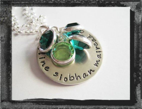 Family Colors Necklace - Bezel Birthstones