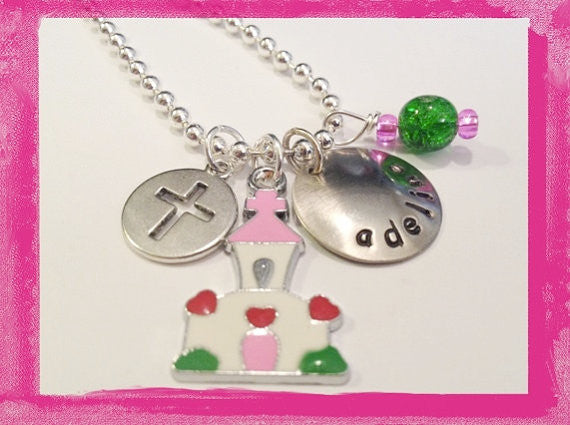 Flower Girl - First Communion Wedding Church Charm Necklace for Girls #W821