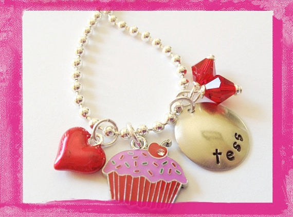 I Love Cupcakes Charm Necklace for Girls
