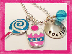 Copy of Cupcake and Lollipop Charm Necklace for Girls