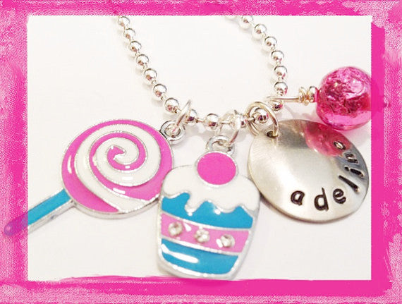Cupcake and Lollipop Charm Necklace for Girls