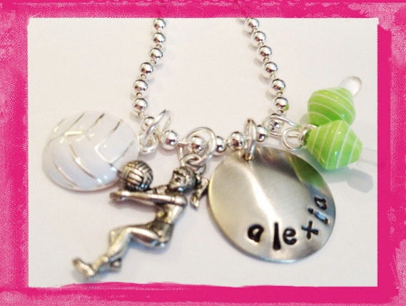 Volley Ball Charm Necklace for Girls