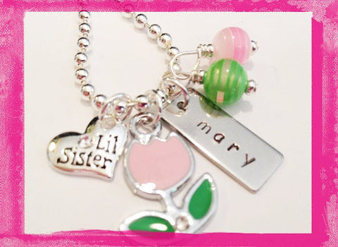 Little Sister - Big Sister - Pink Tulip Necklace for Girls