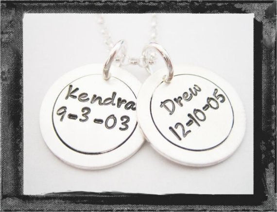 Sterling SIlver Circle Charms - x2 - Fun Font