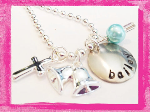 Flower Girl Necklace - Wedding Flower and Cross - Necklace for Girls #W815