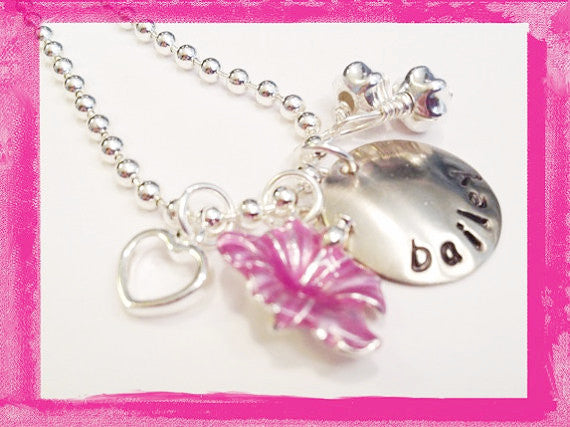 Flower Girl - Wedding Hibiscus and Heart - Necklace for Girls