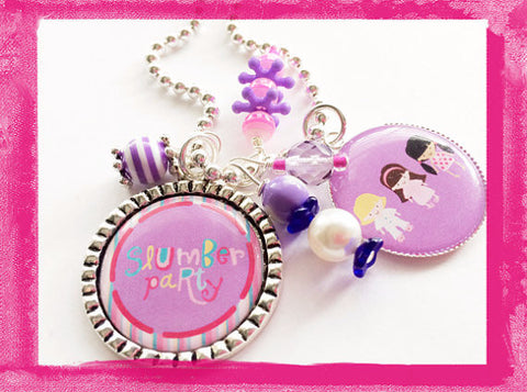 Slumber Party -  Sleepover Bezel Charm Necklace for Girls