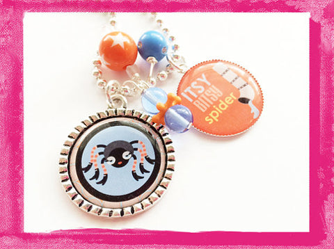 Itsy Bitsy Spider -  Custom Bezel Necklace for Girls #B54