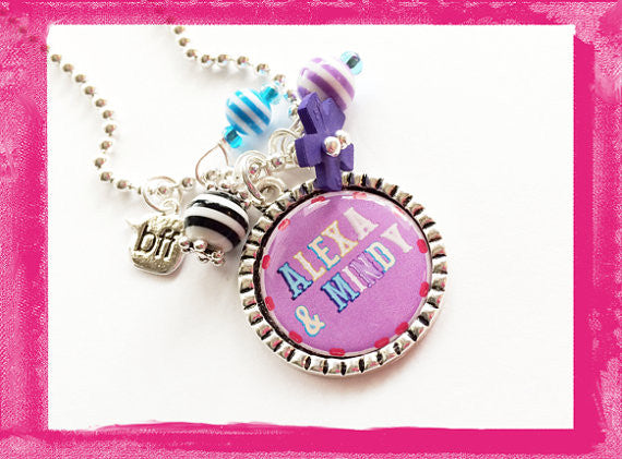 BFF Necklace - Best Friend Bezel Necklace for Girls