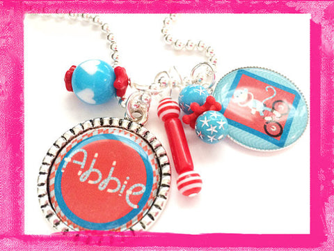 Sock Monkey -  Bezel Charm Necklace for Girls