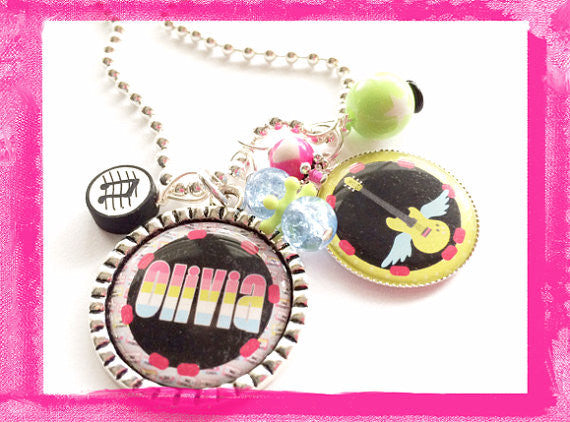 Rock Angel -  Guitar Bezel Necklace for Girls #B49