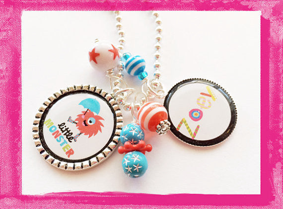 Little Monster -  Custom Bezel Necklace for Girls #B55
