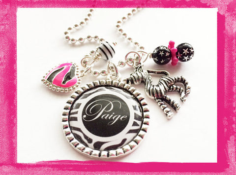 Wild Zebra Necklace - Bezel Necklace for Girls