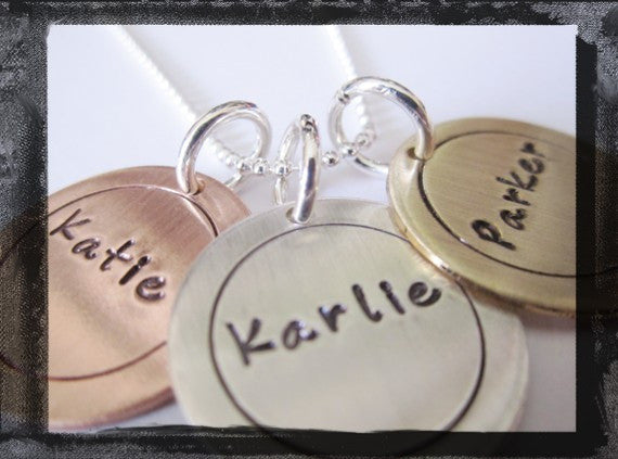 Circle Charms - Mixed Metals - x3 - Fun Font