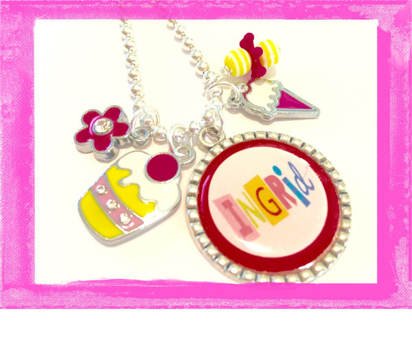 Personalized Necklace for Children - ICE CREAM AND CUPCAKE