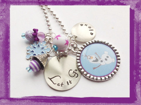 LET IT GO - Snowman Necklace - Personalized Necklace for Girls #B28