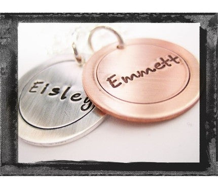 Circle Charms - Mixed Metals - x2 - Fun Font