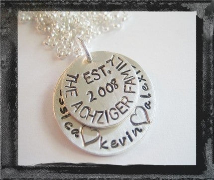 Sterling Silver Est Family Stacked Necklace