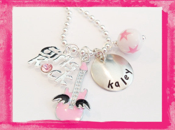 Personalized Guitar Necklace - GIRLS ROCK - Hand Stamped Necklace for Children #M116