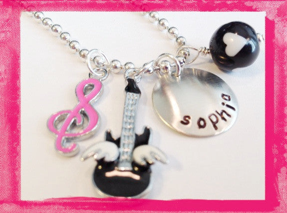 Guitar Necklace - Personalized Hand Stamped Jewelry for Children - Music to my Ears