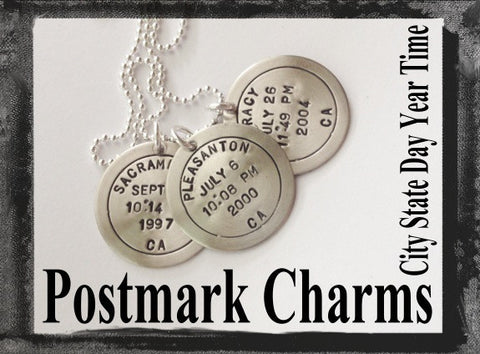 Postmark Charms - City, State, Year, Date, Time x3