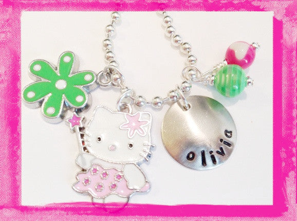 Kitty With a Wand Charm Necklace for Girls