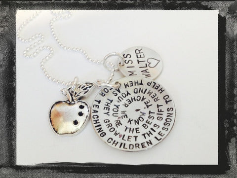 Sterling Teacher Necklace - Poem to your Coach, Teacher, Tutor, Mentor