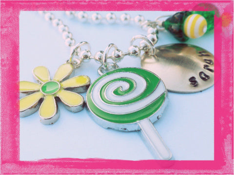 Daisy and Lollipop Charm Necklace for Girls