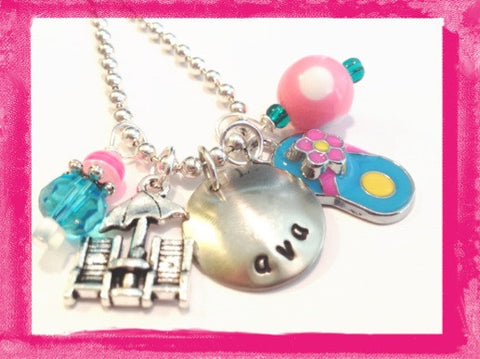 DAY AT THE BEACH - Personalized Necklace for Girls #G601