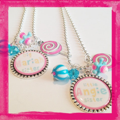 Sister Necklace - Personalized Big Sister or Little Sister Bezel Necklace