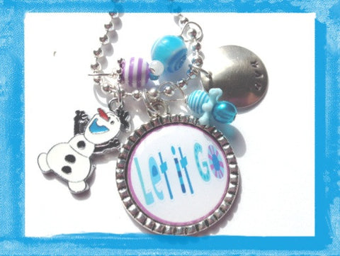 LET IT GO - Olaf Snowman Neckace - Personalized Necklace for girls # B25