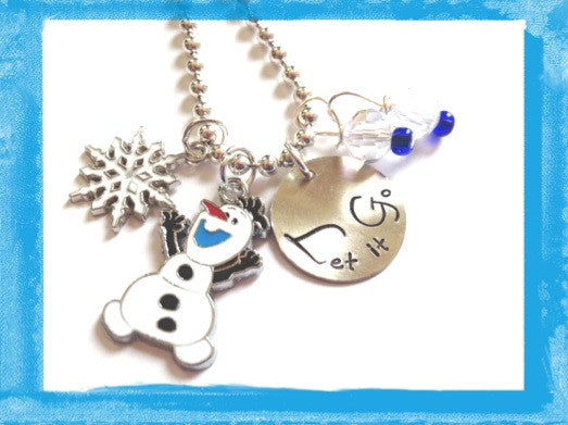 Olaf Snowman Necklace - Personalized