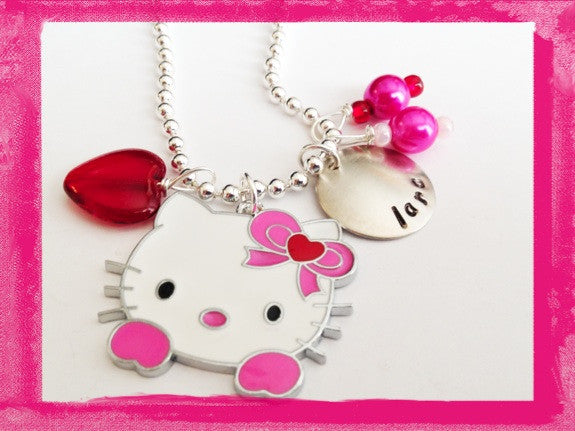KITTY FACE AND HEART Personalized Necklace