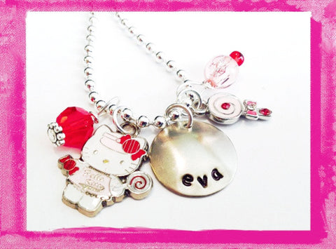 Kitty and Lollipop Personalized Necklace